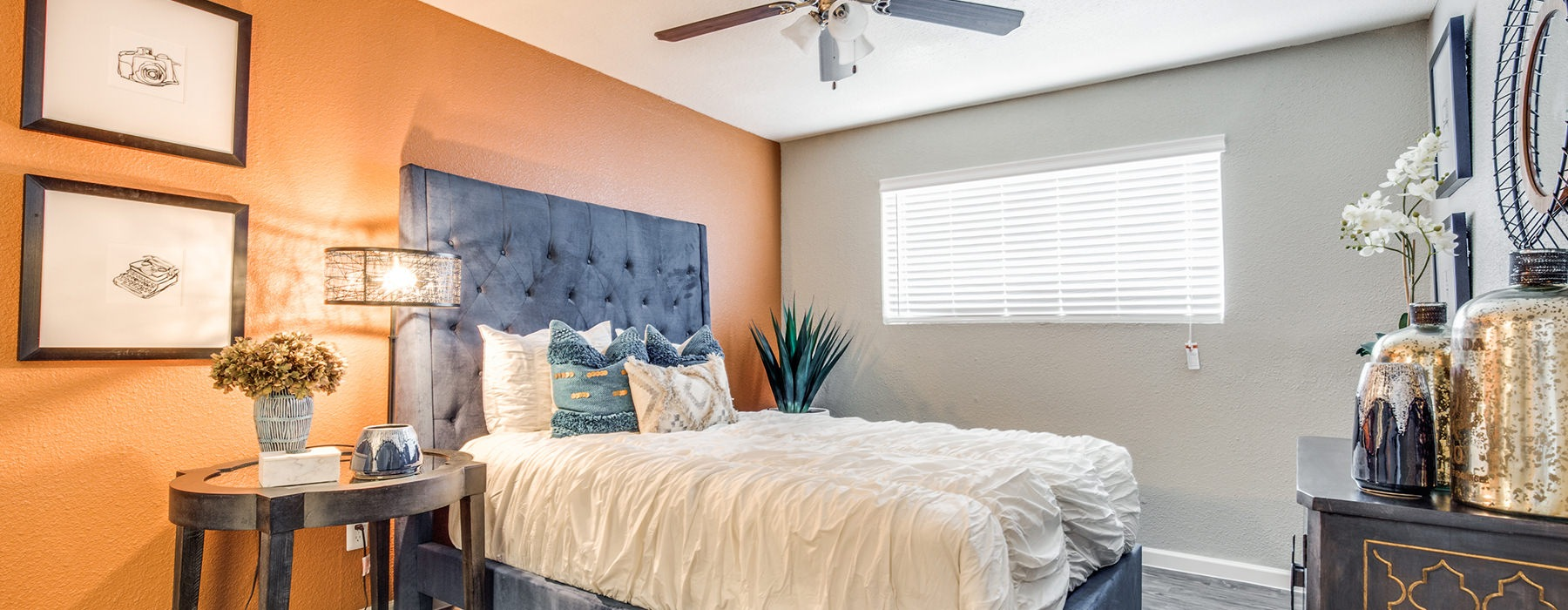 large bedroom with large windows
