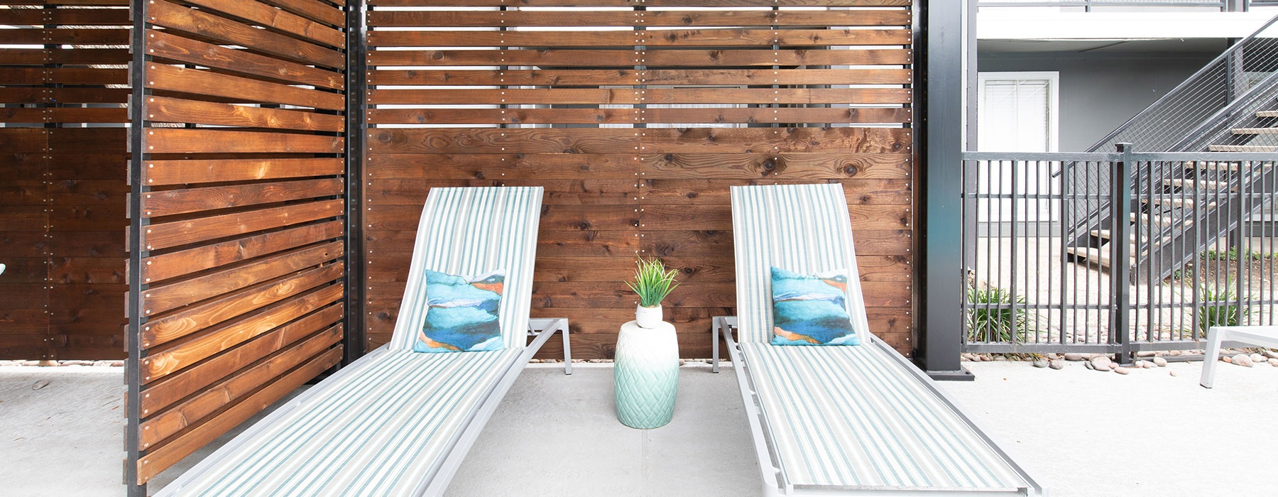 Private Cabana with two lounge chairs